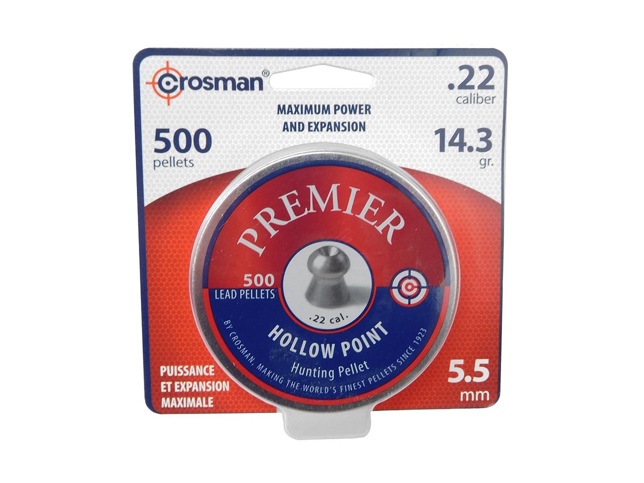 for sale online 500ct Crosman LHP22 .22 Hollow Point 14.3gr Premier Pellets